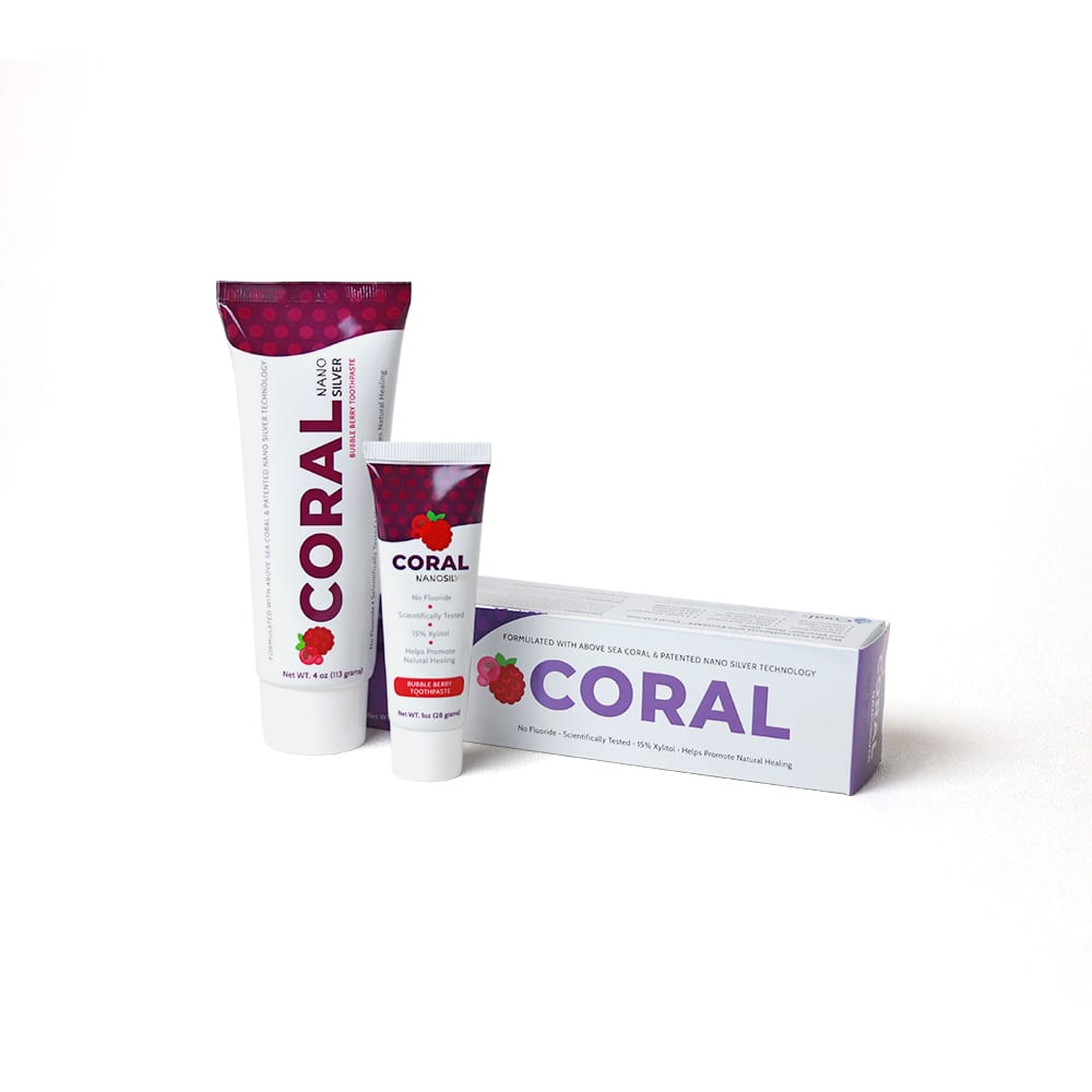 Coral NanoSilver Toothpaste Bubble Berry 4oz and 1oz